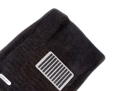 Коврики салона текстильные Skoda Octavia II 2010-2013 Satori с бортиком черные (с металлическим подпятником)
