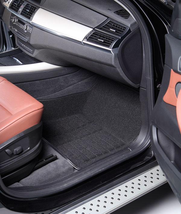 Коврики салона текстильные VW Touareg 2011-> 4-х зонный 3D Pradar XL черные (с металлическим подпятником)